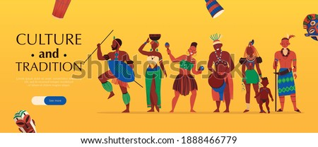 Africa horizontal banner with characters of african tribe members editable text and see more slider button vector illustration ストックフォト ©