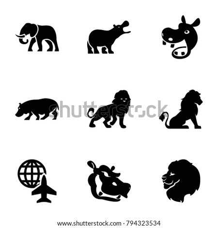 africa icons set of 9 editable