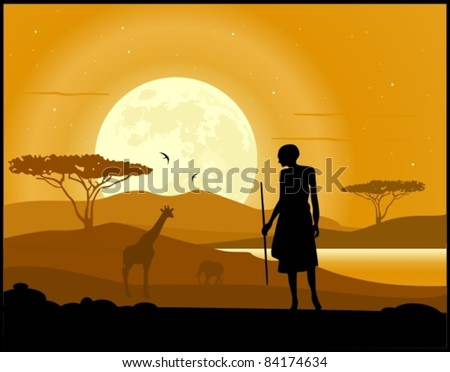 Africa landscape background. Hunter, animal silhouettes and moon rise