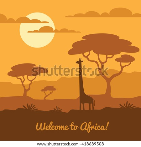 Africa landscape illustration with cute giraffe silhouette and african trees. Can be used for touristic or safari banner, poster design