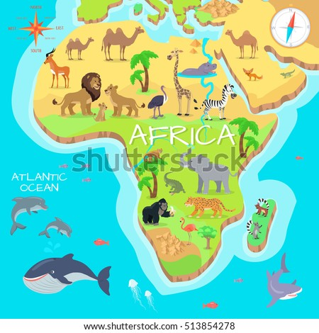 Africa mainland cartoon map with local fauna. Cute african animals flat vector. Savannah predator. Desert species. Jungle wildlife. Atlantic ocean life. Nature concept for children's book illustrating
