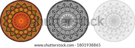 Africa mandala circular pattern in solid and outline form. Polynesia pattern for coloring books, decoration, ornament, tattoo, home decor, tapestries. Aztec pattern for tapestry home decoration.
