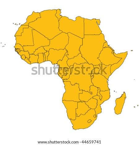 Africa map, isolated and grouped countries of Africa on white