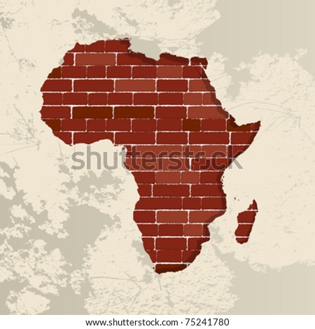 Africa map on a brick wall