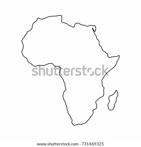 Africa map outline graphic freehand drawing on white background. Vector illustration.