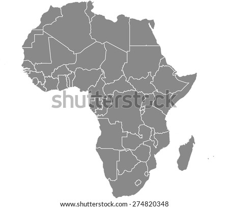 africa map outlines with grey