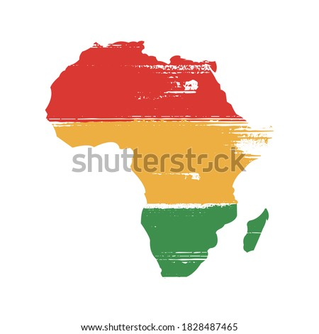 Africa Map Silhouette Icon in African Colours with Paint Brush Grunge Texture - Black History Month Africa Symbol Icon