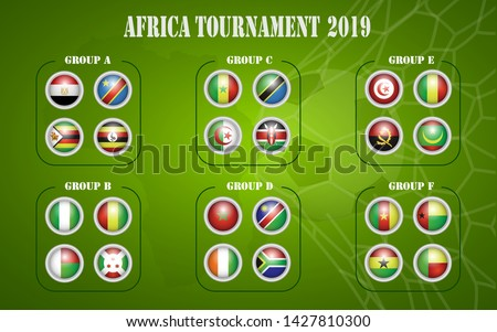 Africa nations soccer cup groups. All flags .Vector illustration  - Images vectorielles Photo stock ©