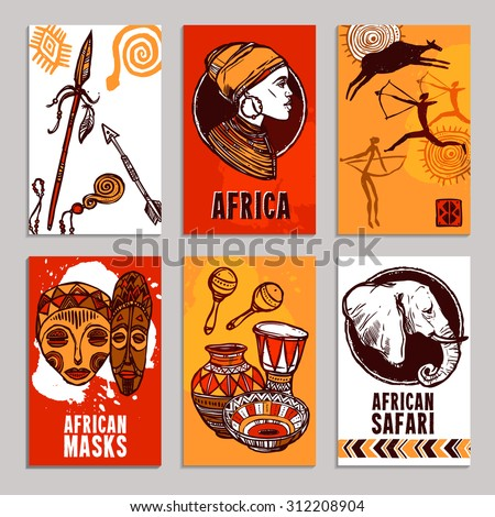 Africa poster set with safari and masks sketch elements isolated vector illustration