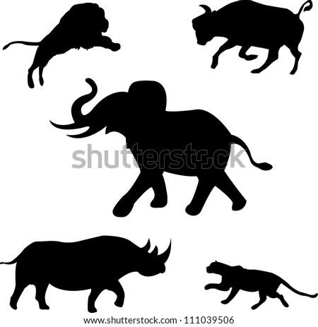 Africa's five wild beasts: elephant, rhino, buffalo, lion, leopard