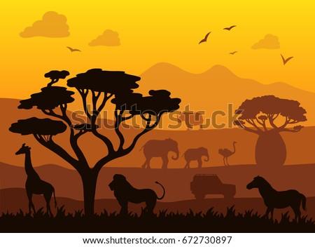 africa safari landscape vector
