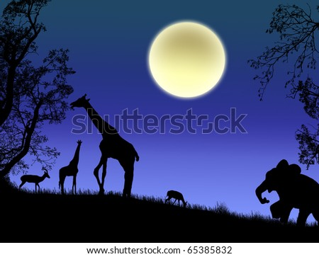 stock vector : Africa - Safari - silhouettes of wild animals,