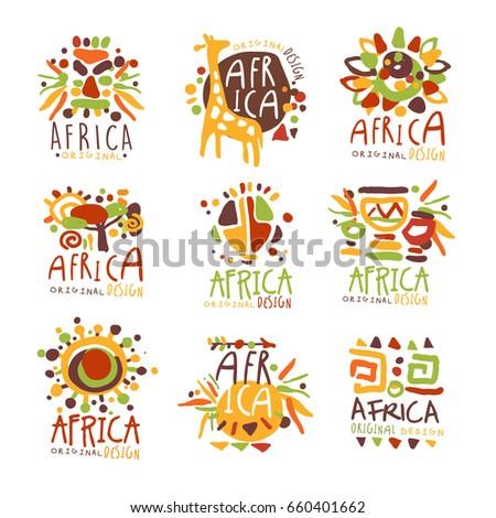 Africa set for logo original design. Travel to Africa colorful hand drawn vector llustrations