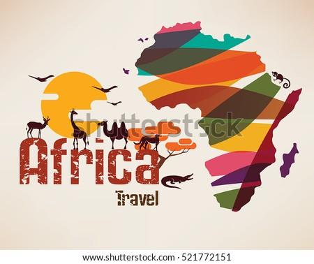 africa travel map  decorative...