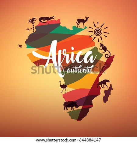 africa travel map  decorative
