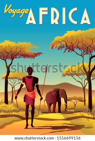 Africa travel poster with a masai warrior in the first plan and elephant and savannah in the background. Handmade drawing vector illustration. Art Deco style.