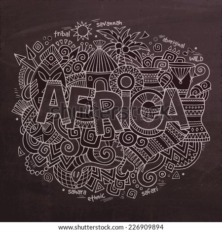 africa vector hand lettering