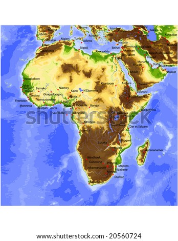 Africa with Near East. Physical vector map, colored according to elevation, with rivers and selected cities. Surrounding territory greyed out. 34 layers, fully editable.