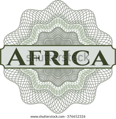 Africa written inside a money style rosette