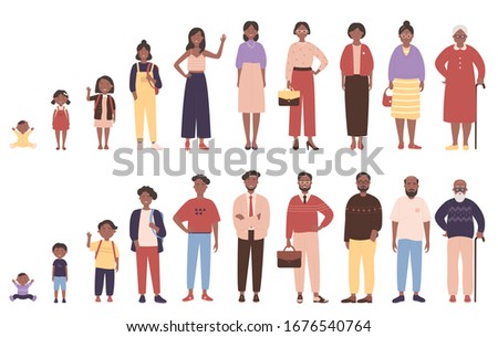 African american black woman and man in different ages vector illustration. Human life stages, childhood, youth, adulthood and senility. Children, young and elderly people flat characters isolated Stock photo ©