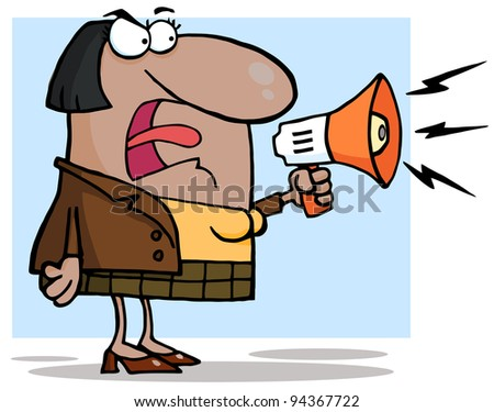 African American Business Woman Yelling Through A Megaphone
