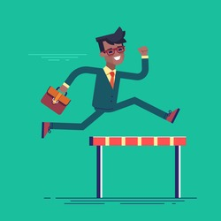 African american businessman jumping over hurdle. Business concept of overcoming obstacles and achieving the goal. Vector illustration.