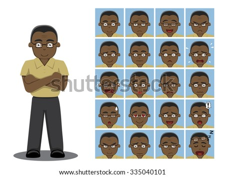 African American Dad Cartoon Emotion faces Vector Illustration