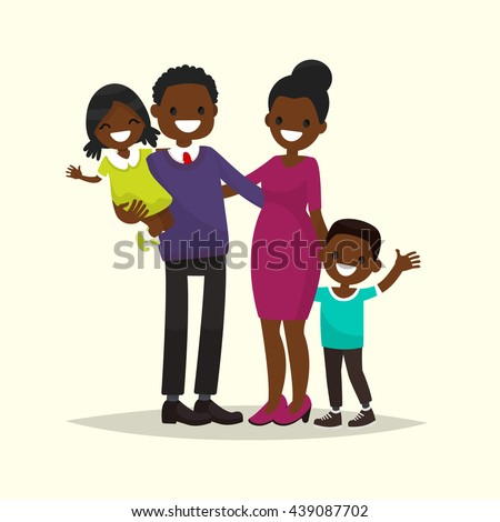 African American family. Father, mother, son and daughter. Vector illustration of a flat design