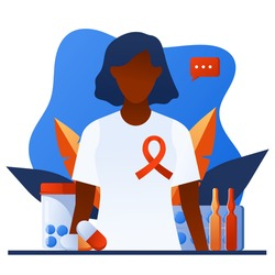 African american female patient with HIV. World AIDS day awareness. Medical sickness solidarity and support concept for banner, poster, web site. Woman with red ribbon on chest. December 1.