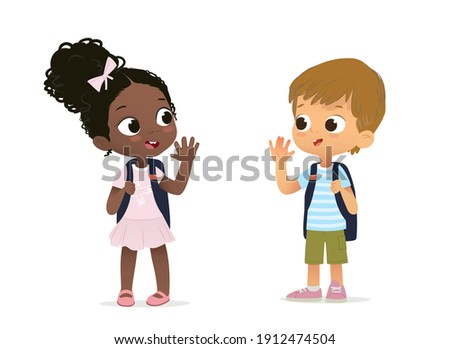 African American Girl with the backpack saying goodbye to Caucasian Boy. Happy schoolmates greeting. Cartoon characters isolated on white. Boy and Girl school children going to school.