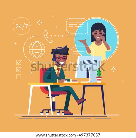 African american helpline operator with headset consulting a client. Online global tech support 24/7. Operator and customer. Technical support concept. Vector illustration in flat design.