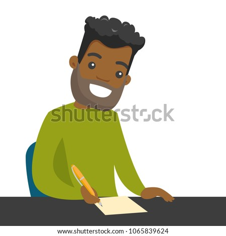 African-american journalist sitting at the table and writing notes on a piece of paper with a pen. Young smiling journalist writing an article. Vector cartoon illustration isolated on white background