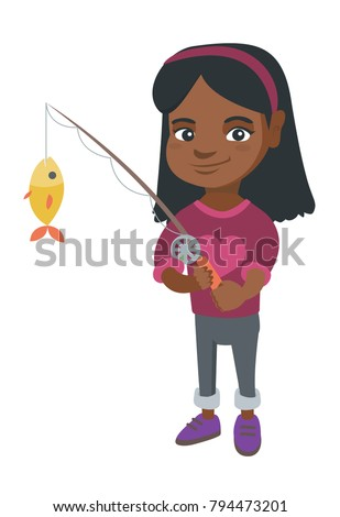 African-american little girl fishing. Full length of smiling girl holding fishing rod with fish on a hook. Vector sketch cartoon illustration isolated on white background.