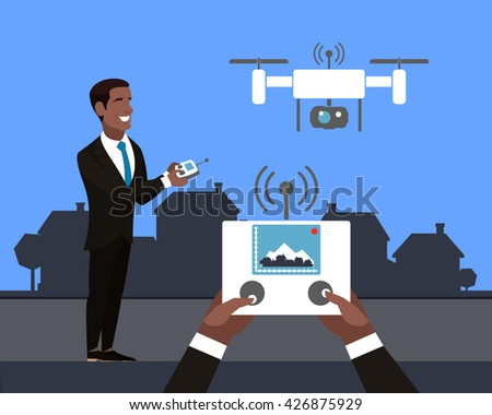african american man with drone