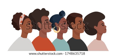 African American men and woman in colorful  t-shirts stand one by one. Tolerance and no racism concept. Protest Banner about Human Right of Black People. Cartoon vector illustration. stock photo