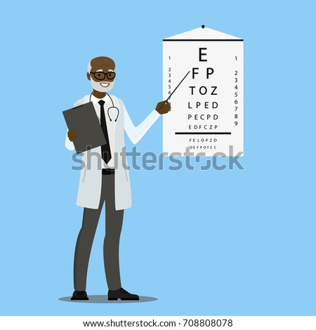 African american Ophthalmologist and stand with sight test,cartoon vector illustration