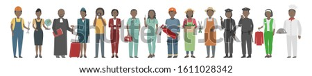 African American people of diverse occupations. Vector illustration.