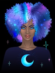 African American pretty girl. Vector Illustration Mysterious black woman with galaxy make up and with the sky full of stars in her hair.