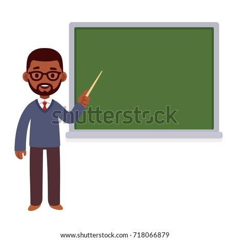 African American professor standing in front of chalkboard. School teacher or college and university lecture. Cute cartoon vector character.