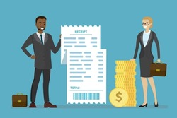 African american salesman holds receipt. Caucasian woman client holds golden dollar coins. Payment for goods and services. Payment in cash. Business process, shopping concept. Flat vector illustration