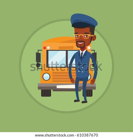 African-american school bus driver standing in front of yellow bus. Smiling school bus driver in uniform. Happy school bus driver. Vector flat design illustration in the circle isolated on background.