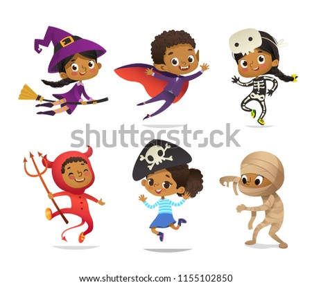 African-American set of Boys and Girls, wearing Halloween costumes isolated on white background. Cartoon vector characters of Kid witch, pirate, Dracula, devil, skeleton, mummy, for party, web, mascot