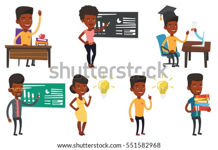 African-american student pointing finger at the idea bulb. Excited student with bright idea bulb. Student having a great idea. Set of vector flat design illustrations isolated on white background.