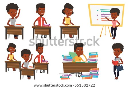 African-american student studying hard before the exam. Young student studying with textbooks. Student studying in the library. Set of vector flat design illustrations isolated on white background.