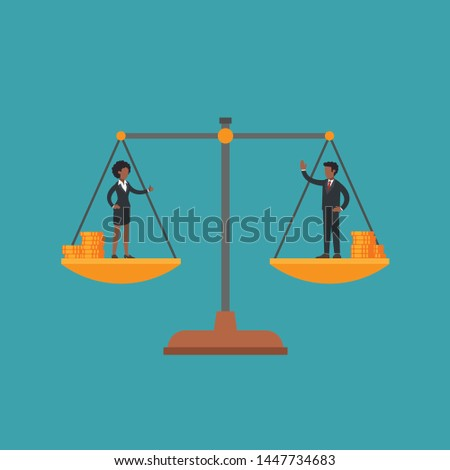 African american woman and man on scales, male and female manager have equal weight and money. Concept of gender equality, wage gap, fairness, woman's and man's rights at work, feminism. Flat vector.