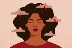 African American woman feels anxiety and emotional stress. Depressed black girl experiences mental health issues. Concept of psychological problem. Vector illustration.
