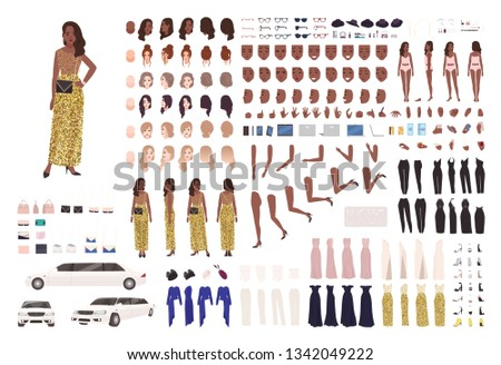 African American woman in evening dress constructor kit or character generator. Set of body parts, elegant clothes and accessories. Female celebrity. Front, side, back views. Flat vector illustration.
