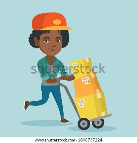 African-american woman-postman pushing trolley with parcels in cardboard boxes. Young woman-postman delivering parcels. Woman-postman running with parcels. Vector cartoon illustration. Square layout.
