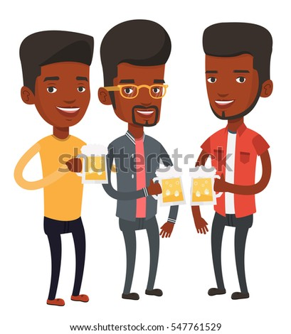 African-american young friends clanging glasses of beer. Beer fans toasting and clinking glasses. Cheerful friends enjoying a beer at pub. Vector flat design illustration isolated on white background.
