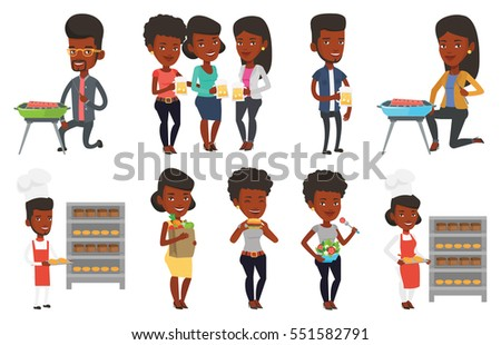 African-american young friends clanging glasses of beer. Beer fans toasting and clinking glasses. Friends enjoying a beer at pub. Set of vector flat design illustrations isolated on white background.